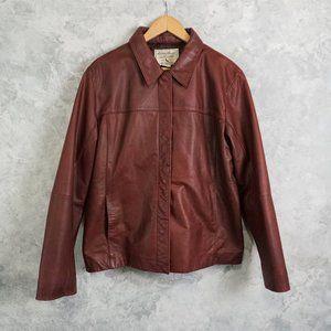 Eddie Bauer Oxblood Leather Collared Jacket